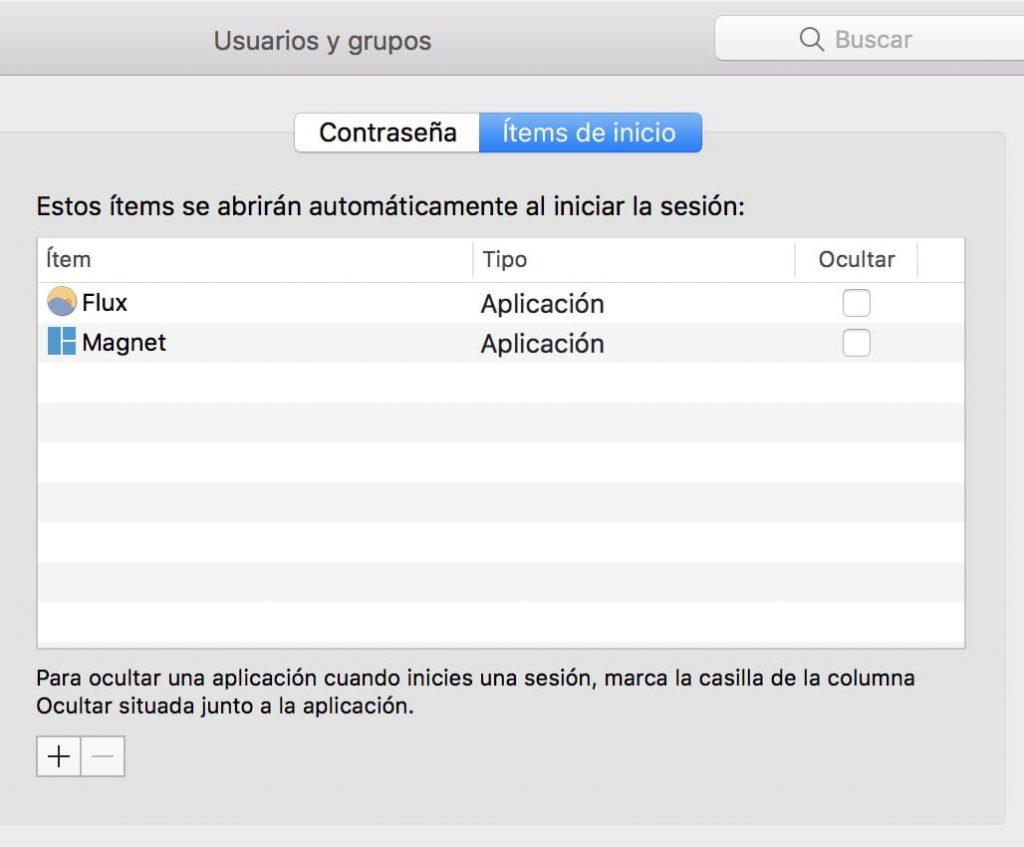 Items de inicio MacOS