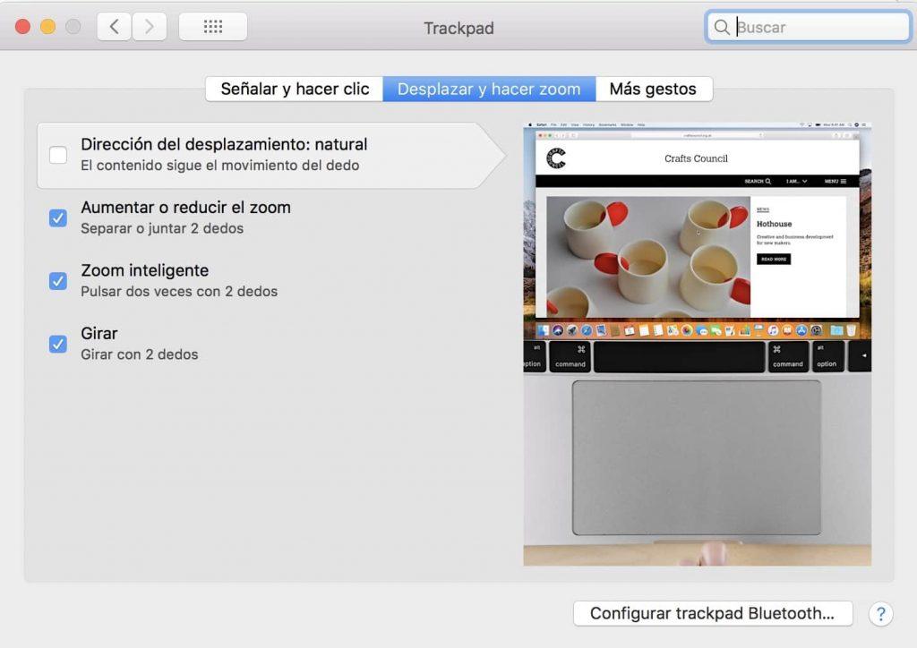 Cambiar dirección scroll trackpad