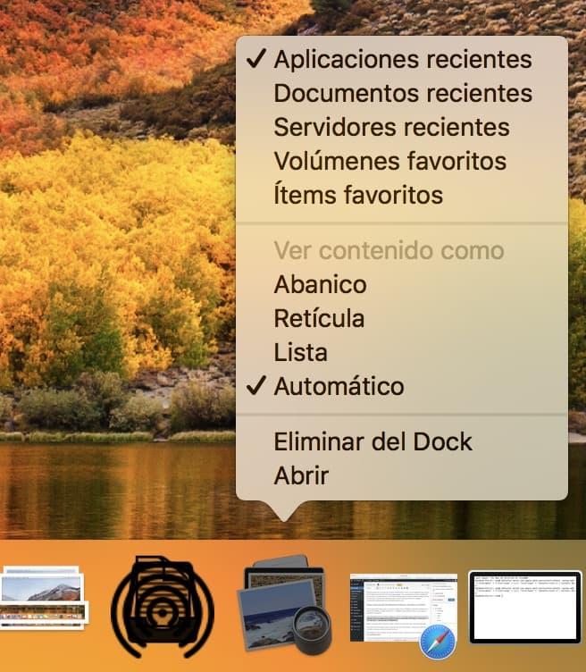 Modos de ver las pilas de apps en el doc