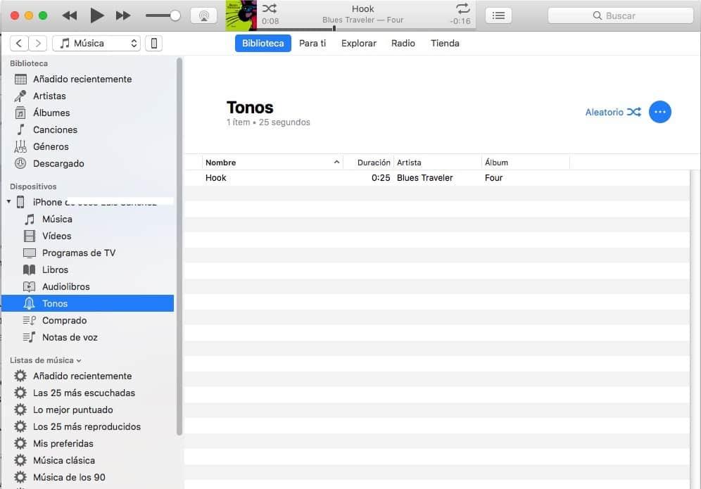 Poner una canción como tono de llamada en iPhone